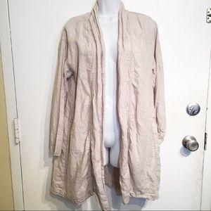 Tahari 100% Linen Neutral Earth Tone Cardigan